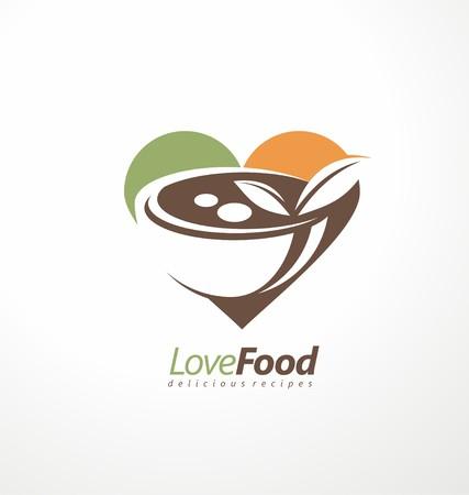La comida y el restaurante símbolo diseño idea.