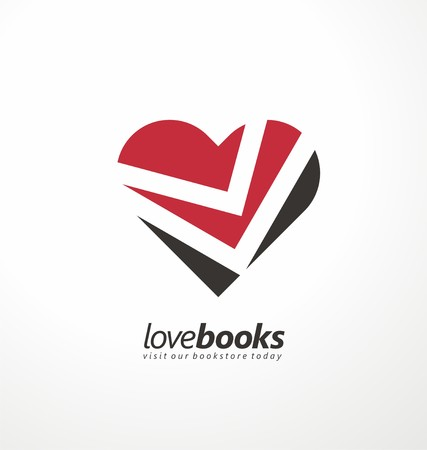 page design: Love books creative symbol concept