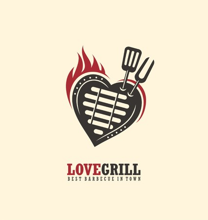 meat on grill: Creative emblem concept for grill restaurant