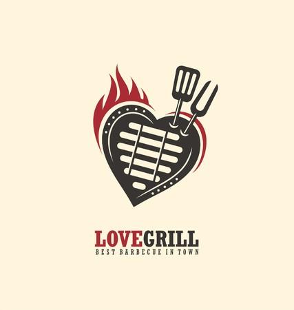 Creative-Emblem Konzept für Grill-Restaurant Illustration