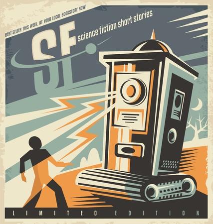 공상 과학 소설에 대한 레트로 서점 포스터 디자인 아이디어 일러스트