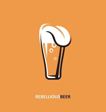 Beer glass with tongue out creative concept