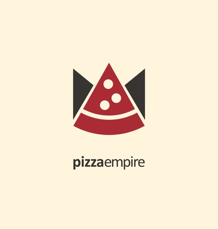 restaurant food: Creative symbol template for pizzeria or fast food restaurant