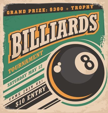 bola ocho: Diseño del cartel retro para el billar torneo