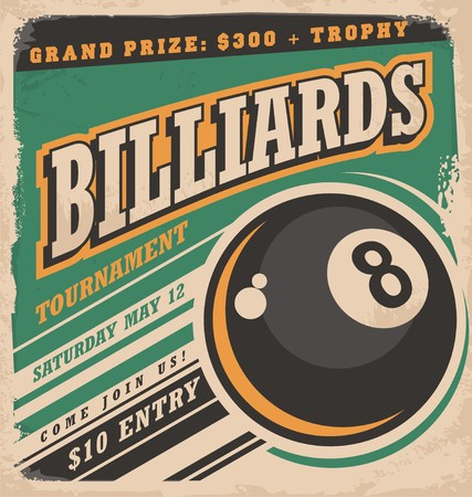 leisure games: Retro poster design for billiards tournament