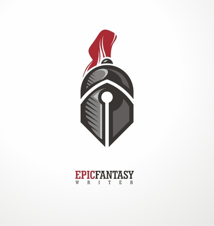spartan: Creative symbol concept with knight and pen Illustration