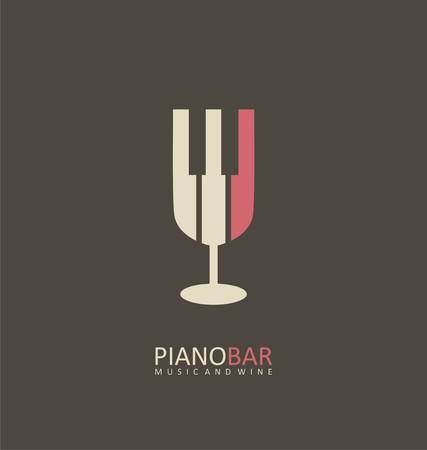 피아노 바 창조적 인 기호 개념 일러스트