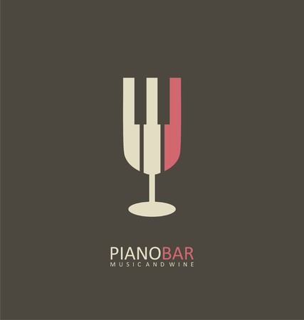 glass bottle: Piano bar creative symbol concept
