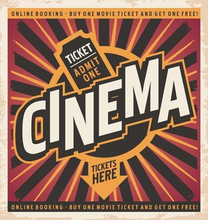 Cinema vintage poster design concept
