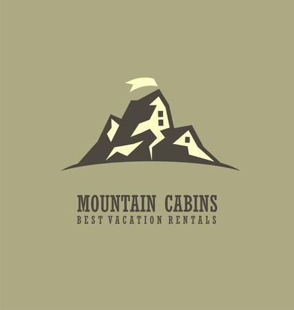 albergo: Montagna cabine concetto creativo simbolo Vettoriali