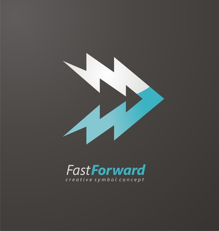 Fast forward symbol with bolts
