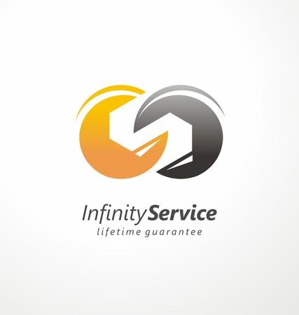 無限大のサービスおよびメンテナンス シンボルのコンセプト  イラスト・ベクター素材