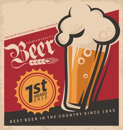 beer drinking: Retro beer vector poster Illustration