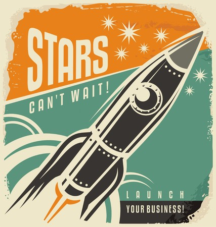 future business: Retro poster with rocket launch