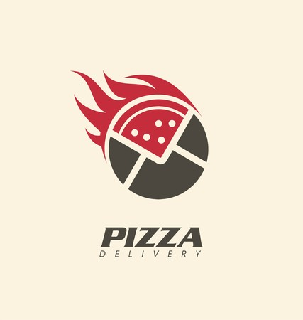 Creative symbol concept for pizza delivery business or pizzeria restaurant Illustration