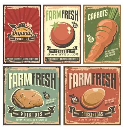 food concept: Farm fresh organic products retro tin signs collection