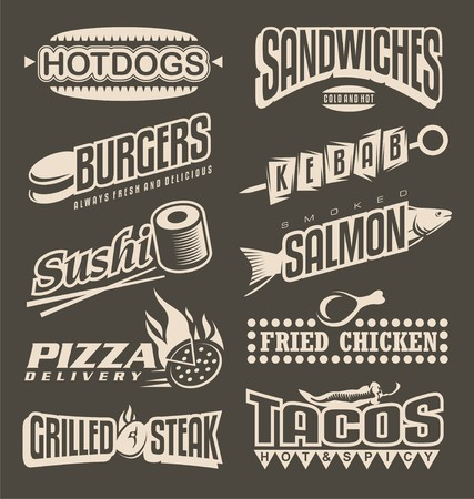 hot dog label: Fast food menu labels collection