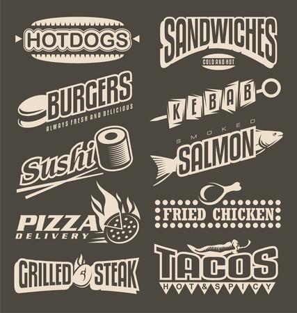 perro caliente: Menú de comida rápida colección de etiquetas Vectores