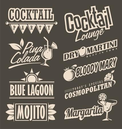 coquetel: conceito de design retro menu de cocktails salão