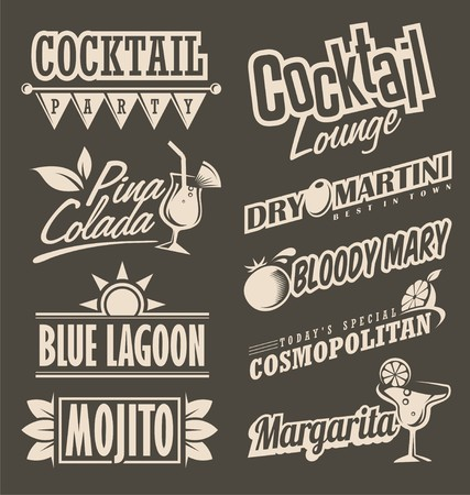 coctel de frutas: salón de cócteles menú retro concepto de diseño