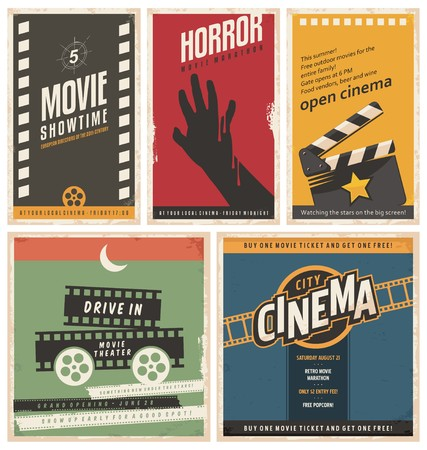 movie theater: Retro cinema posters and flyers collection Illustration