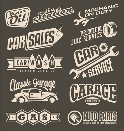 Car service and garage retro banner set