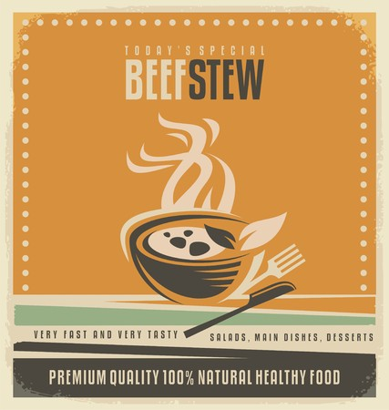 preparing food: Beef stew retro poster layout