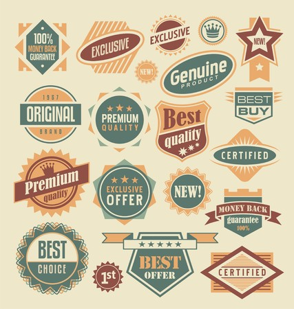 guarantee seal: Retro labels and stickers collection