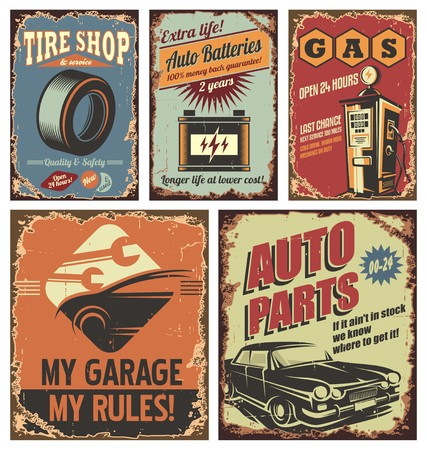 Vintage car service tin signs and posters on old rusty background Illustration
