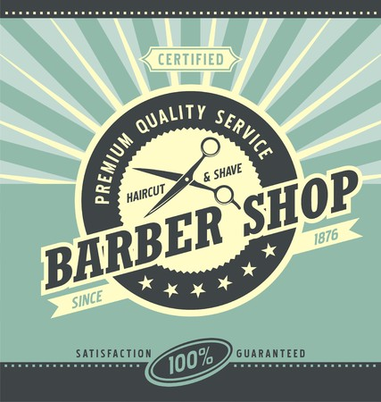 scissors icon: Barber shop retro poster design template