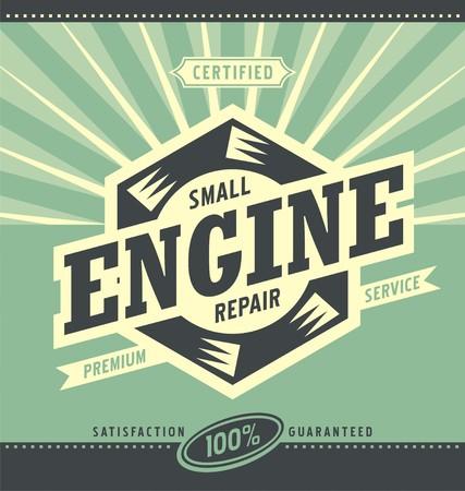 小型エンジン修理レトロな広告デザイン  イラスト・ベクター素材