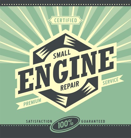 Small engine repair retro ad design