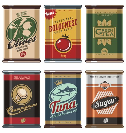 old fashioned vegetables: Vintage food can vector collection
