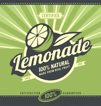 retro backgrounds: Lemon slice and lemonade Illustration