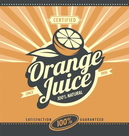 オレンジ ジュース レトロ広告コンセプト  イラスト・ベクター素材