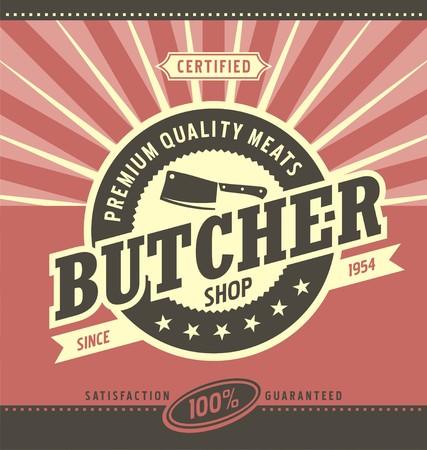 Carnicería: carnicería de diseño minimalista del vector
