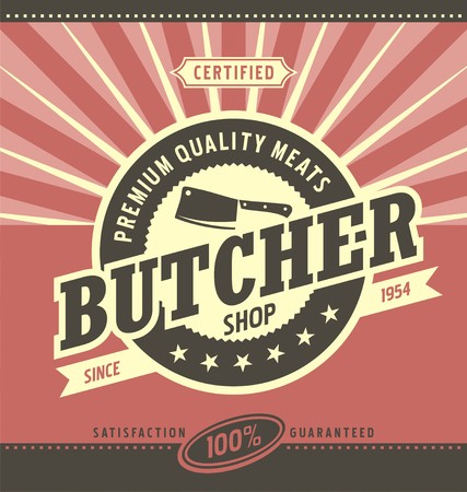 Butcher shop minimalistic vector design Stock Illustratie