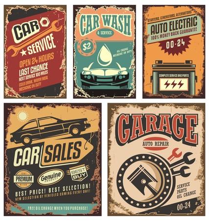retros: muestras del metal de servicio de coches de época y carteles