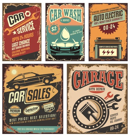 old cars: Vintage car service metal signs and posters  Illustration
