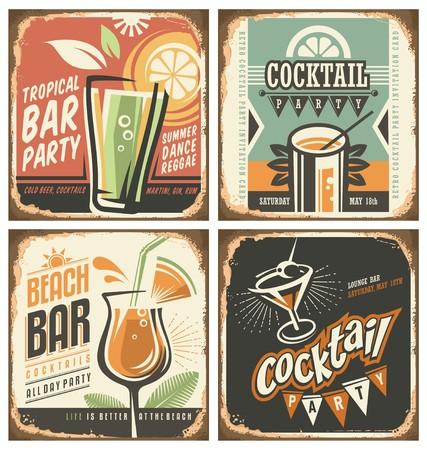 barra de bar: Bar de cócteles conjunto muestra de la lata retro