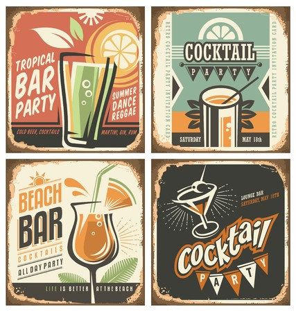 drink at the beach: Cocktail bar retro tin sign set