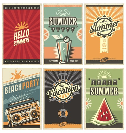 dawn: Set of retro summer holiday posters