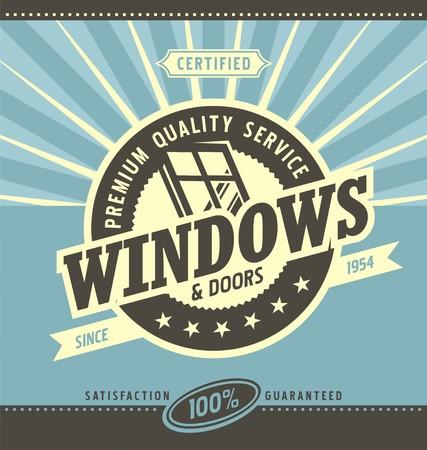Windows and doors retail and service Stock Illustratie