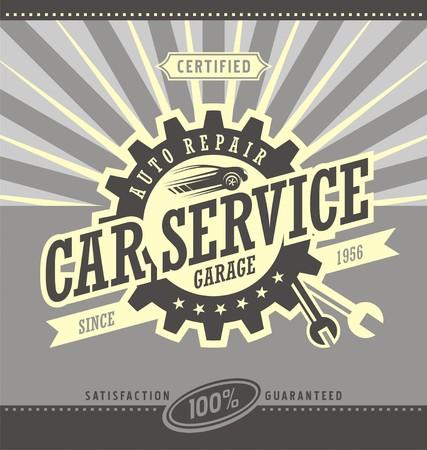 葡萄收穫期: 轎車服務復古旗幟的設計理念。 向量圖像