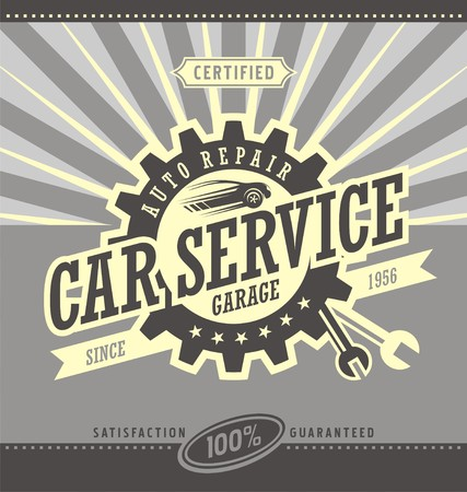 workshop: Car service retro banner design concept.