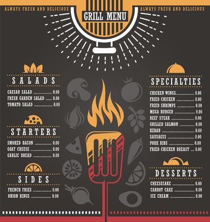 bbq background: Restaurant menu design