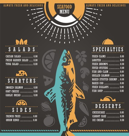 salmon dinner: Restaurant menu design
