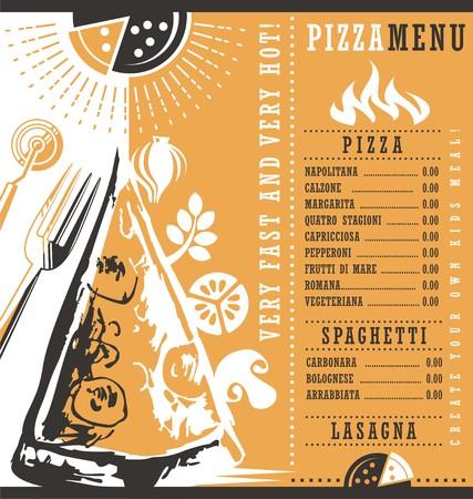pizzeria label: Pizzeria menu graphic design idea Illustration