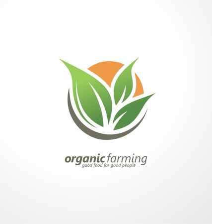 leaf logo: Farm fresh products unique sign or icon image Illustration