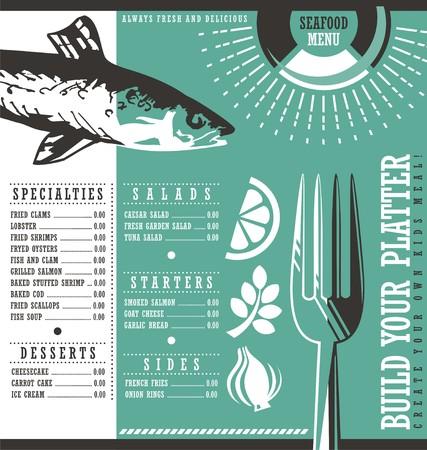 cafe bar: Seafood restaurant menu vector graphic design Illustration